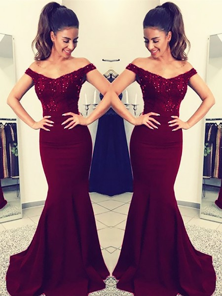 Trumpet/Mermaid Sleeveless Lace Off-the-Shoulder Sweep/Brush Train Satin Dresses