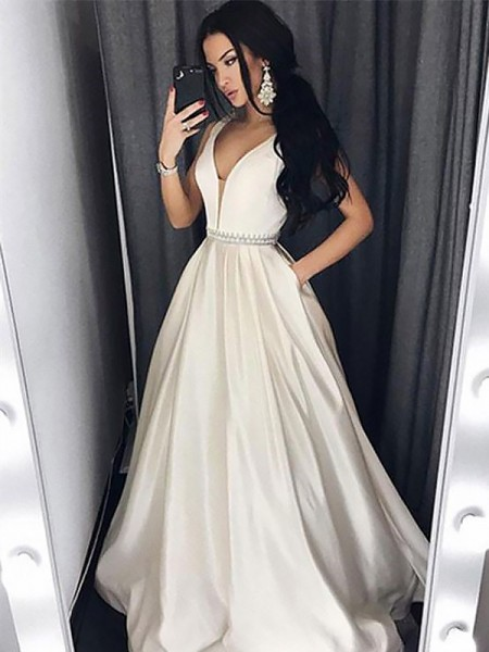 A-Line/Princess Sleeveless Beading V-neck Sweep/Brush Train Satin Dresses