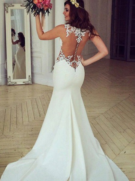 Trumpet/Mermaid Sleeveless Scoop Lace Sweep/Brush Train Applique Wedding Dresses