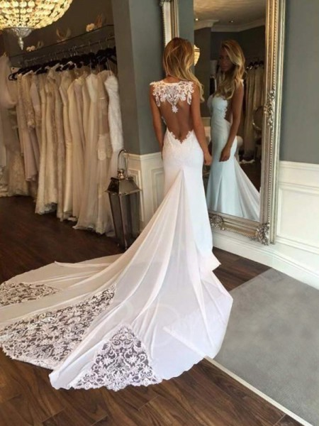 Trumpet/Mermaid Sleeveless Sweetheart Lace Cathedral Train Applique Wedding Dresses