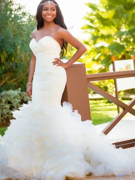 Trumpet/Mermaid Sleeveless Sweetheart Organza Court Train Wedding Dresses