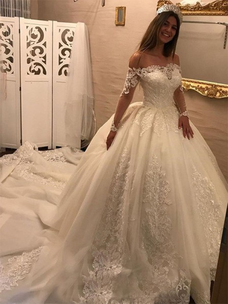 Ball Gown Long Sleeves Off-the-Shoulder Tulle Cathedral Train Applique Wedding Dresses