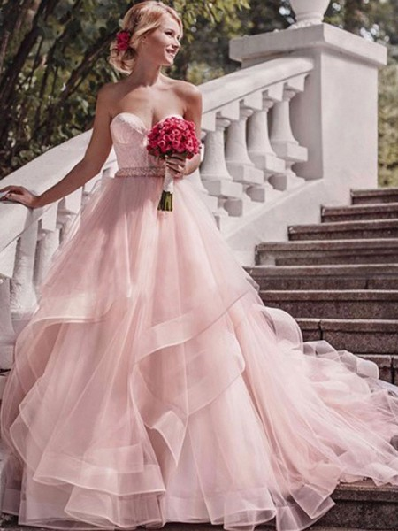 Ball Gown Sleeveless Sweetheart Organza Court Train Layers Wedding Dresses
