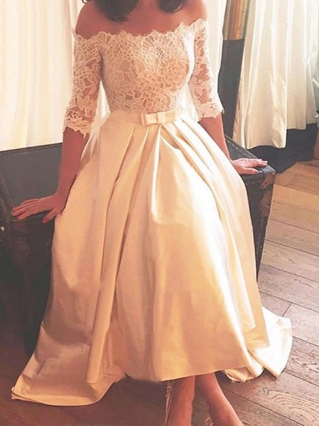 A-Line/Princess 1/2 Sleeves Off-the-Shoulder Satin Asymmetrical Wedding Dresses