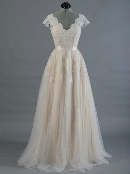 A-Line/Princess Sleeveless V-neck Lace Floor-Length Applique Wedding Dresses