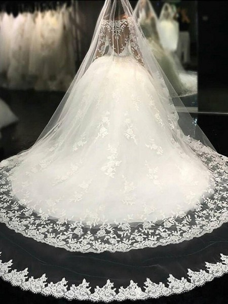 Ball Gown Long Sleeves Scoop Tulle Cathedral Train Wedding Dresses