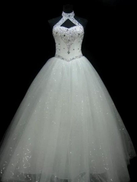 Ball Gown Sleeveless Halter Tulle Floor-Length Beading Wedding Dresses