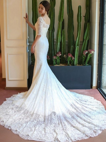 Trumpet/Mermaid 1/2 Sleeves Square Lace Cathedral Train Applique Wedding Dresses