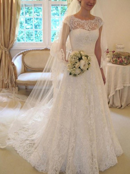 A-Line/Princess Short Sleeves Square Lace Court Train Applique Wedding Dresses