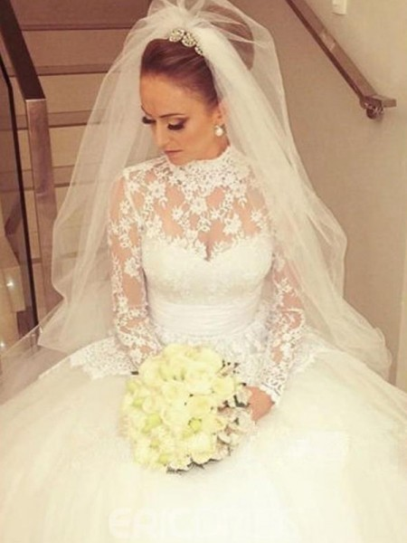 Ball Gown Long Sleeves High Neck Lace Cathedral Train Wedding Dresses