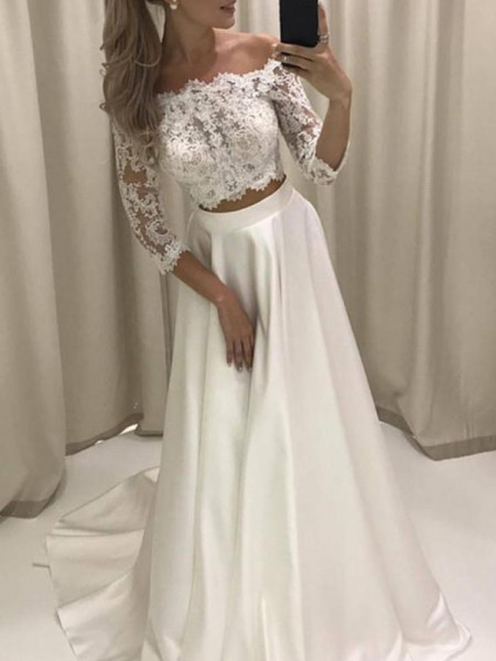 A-Line/Princess 3/4 Sleeves Off-the-Shoulder Satin Court Train Applique Wedding Dresses