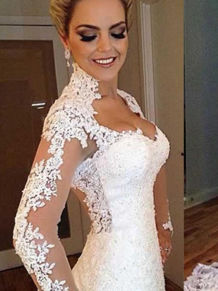Trumpet/Mermaid Long Sleeves V-neck Lace Sweep/Brush Train Applique Wedding Dresses