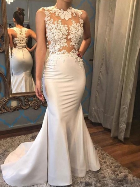 Trumpet/Mermaid Sleeveless Scoop Satin Court Train Applique Wedding Dresses