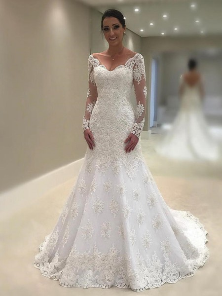 Trumpet-Mermaid Long Sleeves V-neck Lace Court Train Applique Wedding Dresses