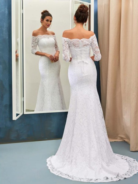 Trumpet/Mermaid 1/2 Sleeves Off-the-Shoulder Lace Sweep/Brush Train Wedding Dresses