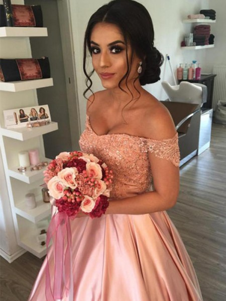 Ball Gown Sleeveless Off-the-Shoulder Satin Cathedral Train Ruffles Wedding Dresses