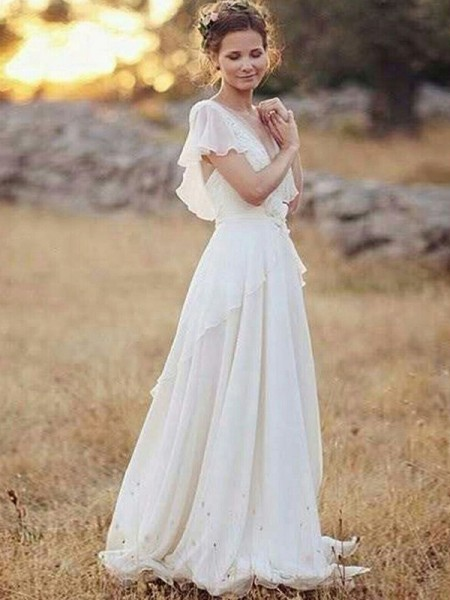 A-Line/Princess Short Sleeves V-neck Chiffon Floor-Length Ruched Wedding Dresses