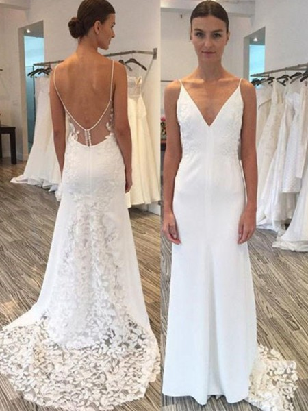 Sheath/Column Sleeveless Spaghetti Straps Satin Sweep/Brush Train Wedding Dresses