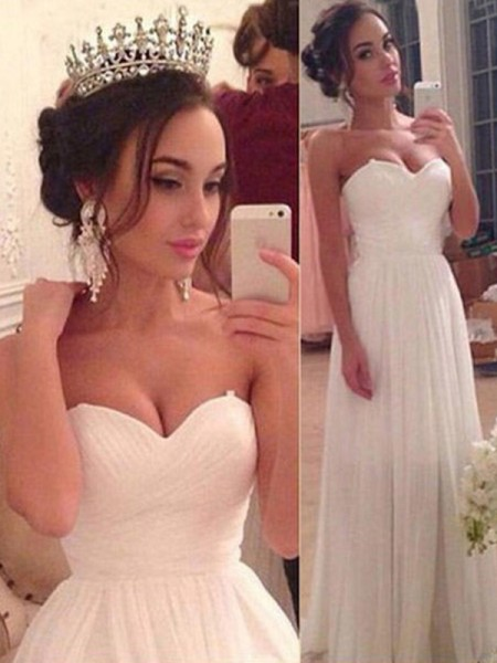 A-Line/Princess Sleeveless Sweetheart Chiffon Floor-Length Ruffles Wedding Dresses