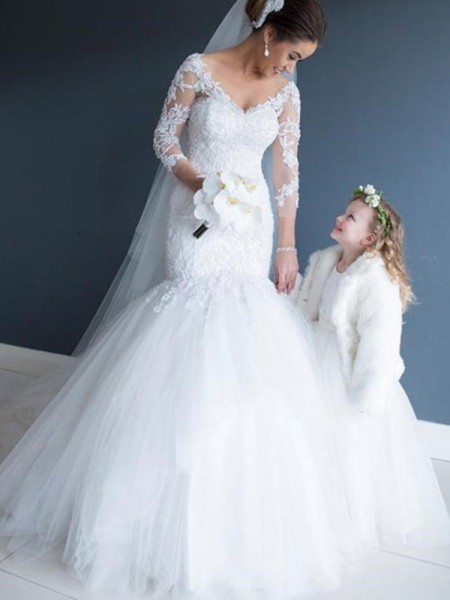 Trumpet/Mermaid 1/2 Sleeves Off-the-Shoulder Tulle Sweep/Brush Train Wedding Dresses