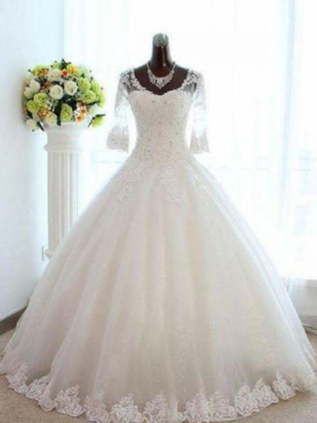 Ball Gown 3/4 Sleeves Bateau Tulle Floor-Length Beading Wedding Dresses