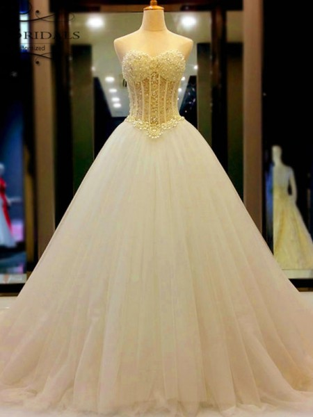 Ball Gown Sleeveless Sweetheart Tulle Court Train Beading Wedding Dresses