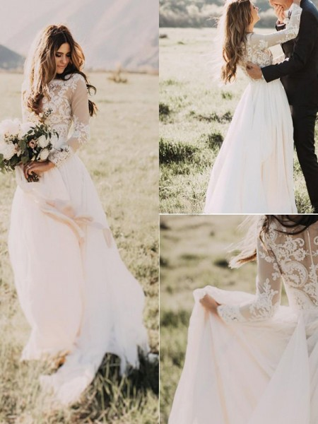 A-Line/Princess Long Sleeves V-neck Chiffon Sweep/Brush Train Applique Wedding Dresses