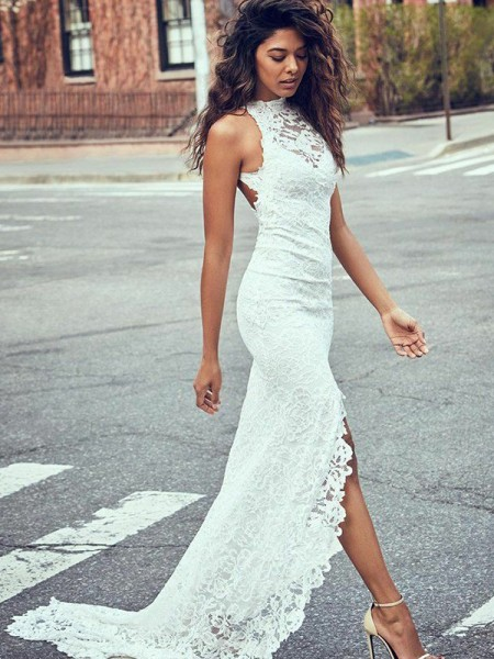 Trumpet/Mermaid Sleeveless Halter Lace Sweep/Brush Train Wedding Dresses
