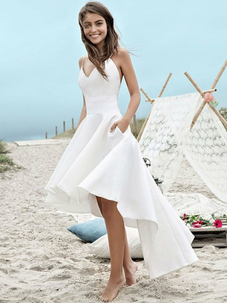 A-Line/Princess Sleeveless Spaghetti Straps Satin Asymmetrical Ruched Wedding Dresses