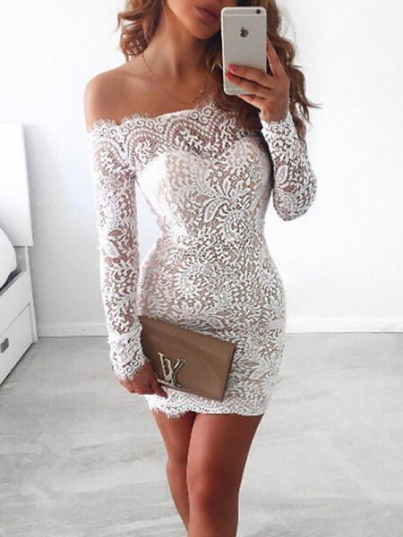 Sheath/Column Short/Mini Off-the-Shoulder Long Sleeves Lace Cocktail Party Dresses