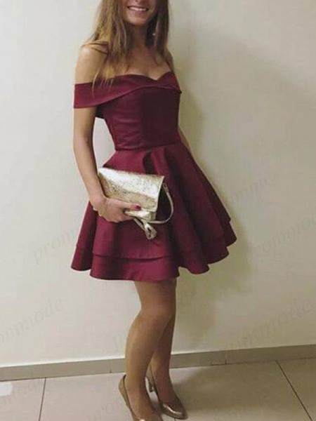 A-Line/Princess Short/Mini Off-the-Shoulder Layers Sleeveless Satin Cocktail Party Dresses