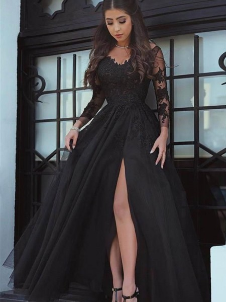 Ball Gown Floor-Length Off-the-Shoulder Applique Long Sleeves Tulle Dresses