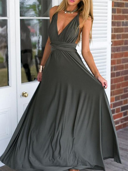Empire Floor-Length V-neck Ruffles Sleeveless Chiffon Dresses