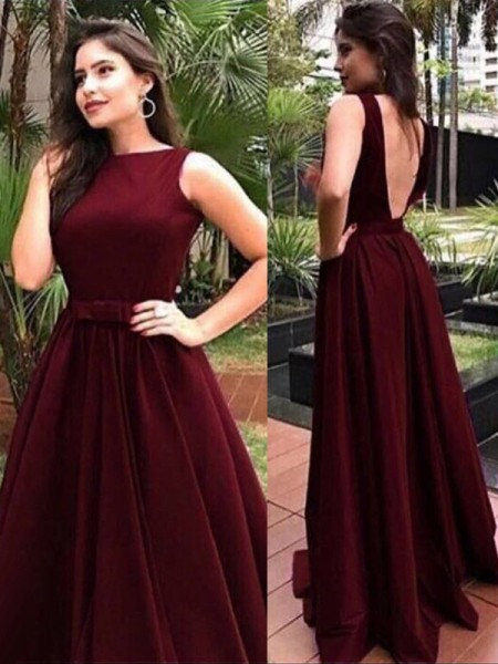 A-Line/Princess Floor-Length Bateau Sash/Ribbon/Belt Sleeveless Velvet Dresses