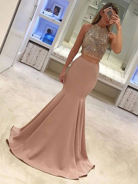 Trumpet/Mermaid Sweep/Brush Train High Neck Beading Sleeveless Satin Dresses