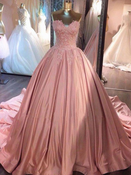 Ball Gown Court Train Sweetheart Sleeveless Satin Dresses