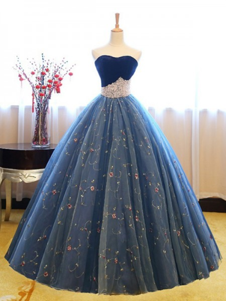 Ball Gown Floor-Length Sweetheart Beading Sleeveless Net Dresses