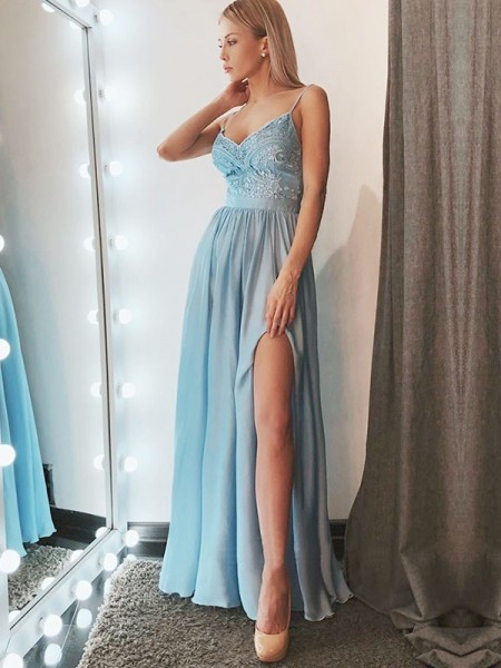 A-Line/Princess Floor-Length Spaghetti Straps Sleeveless Chiffon Dresses