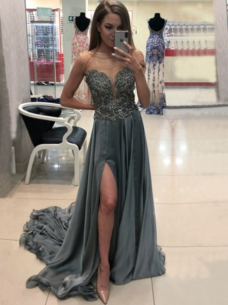 A-Line/Princess Sweep/Brush Train Bateau Crystal Sleeveless Chiffon Dresses