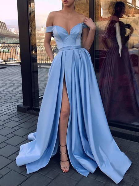 A-Line/Princess Sweep/Brush Train Off-the-Shoulder Ruffles Sleeveless Satin Dresses
