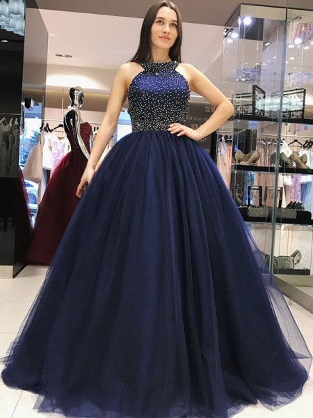 Ball Gown Sweep/Brush Train Halter Beading Sleeveless Tulle Dresses
