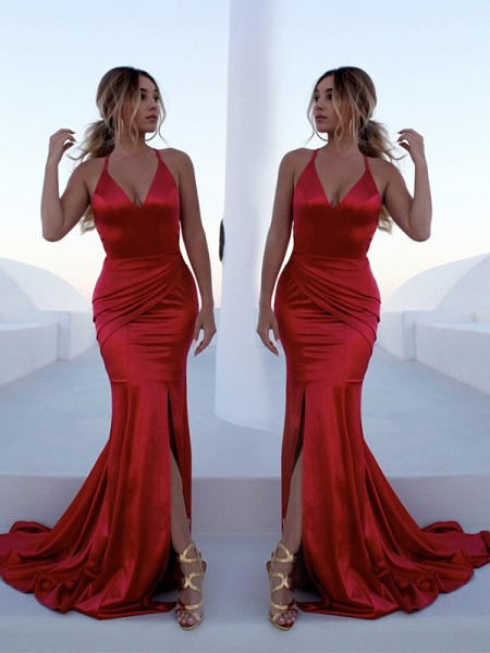 Trumpet/Mermaid Sweep/Brush Train Halter Ruffles Sleeveless Satin Dresses