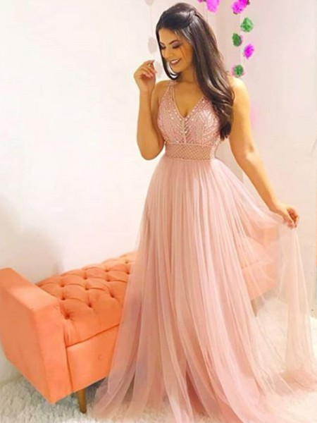 A-Line/Princess Sweep/Brush Train V-neck Crystal Sleeveless Tulle Dresses