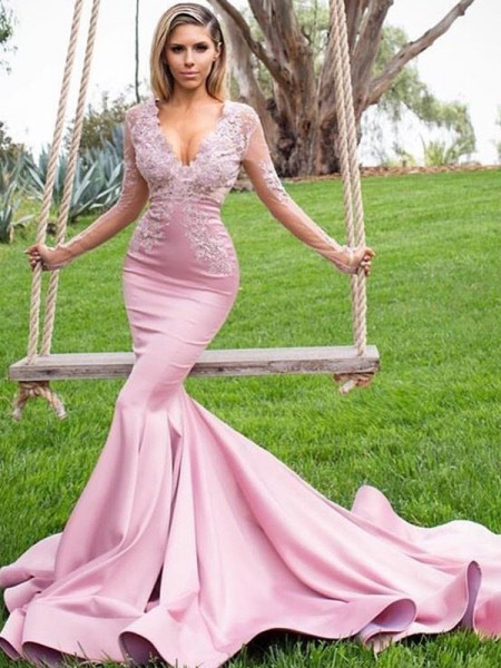 Trumpet/Mermaid Sweep/Brush Train V-neck Applique Long Sleeves Satin Dresses