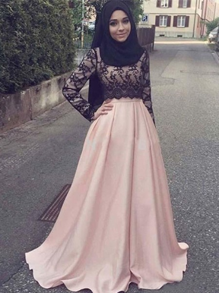 A-Line/Princess Sweep/Brush Train Scoop Applique Long Sleeves Satin Muslim Dresses