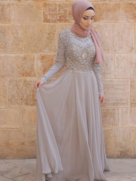 A-Line/Princess Sweep/Brush Train Scoop Crystal Long Sleeves Tulle Muslim Dresses