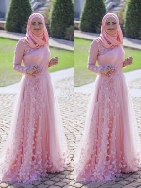 A-Line/Princess Sweep/Brush Train Scoop Applique Long Sleeves Tulle Muslim Dresses