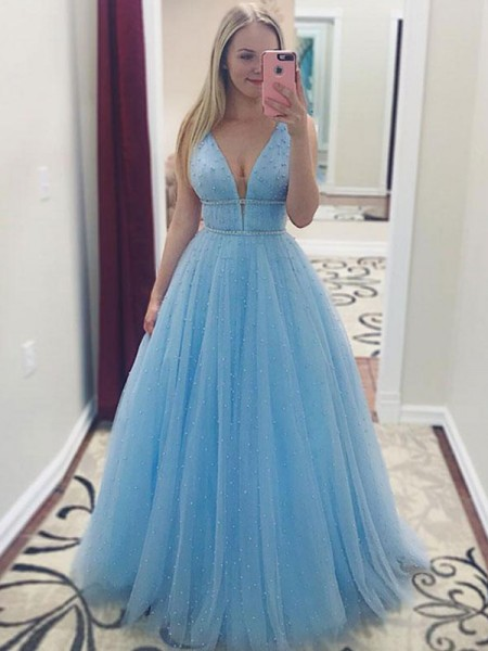 A-Line/Princess Floor-Length V-neck Pearls Sleeveless Tulle Dresses