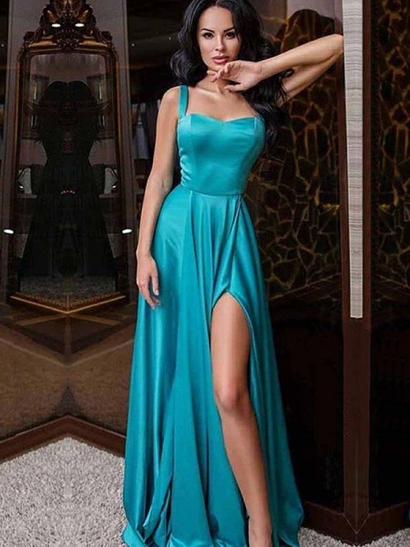 A-Line/Princess Straps Sleeveless Ruffles Elastic Woven Satin Sweep/Brush Train Dresses