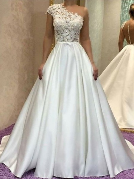 A-Line/Princess One-Shoulder Sleeveless Satin Sweep/Brush Train Wedding Dresses